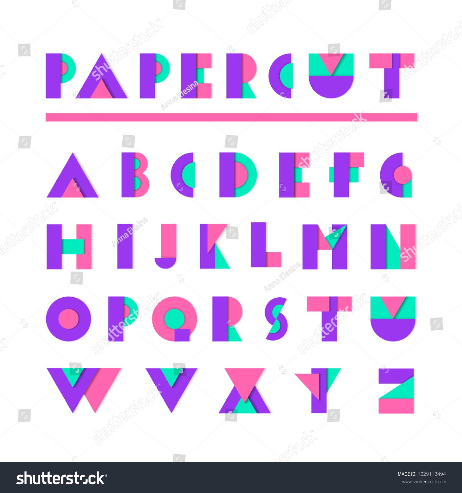 Paper Cut Alphabet Geometric Material Flat Stock Vector Royalty