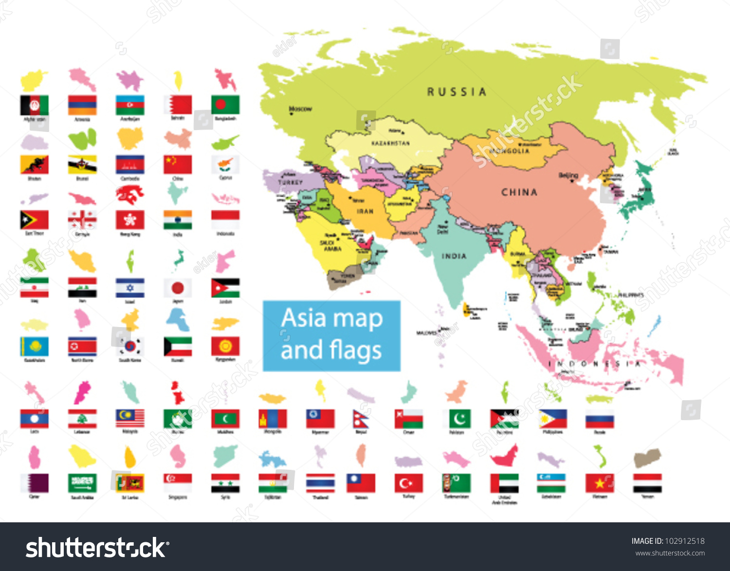 Asia Map Countries Flag Vector 102912518 Shutterstock – Aisia Map