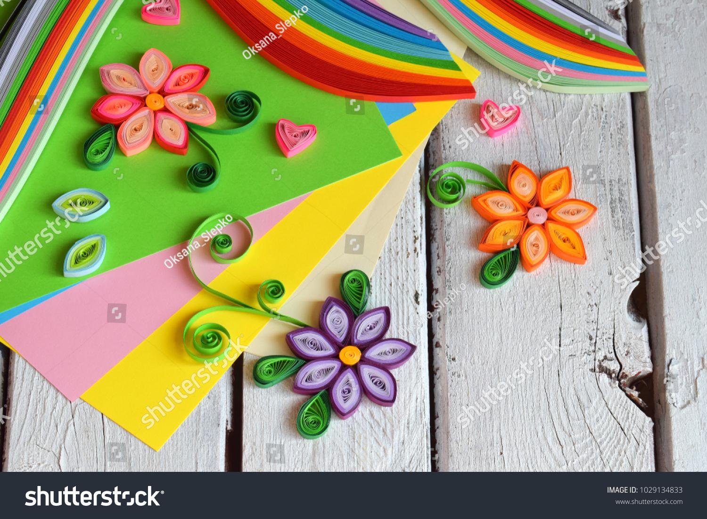 Quilling Technique Paper Strips Flowers Scissors Stock Photo Edit