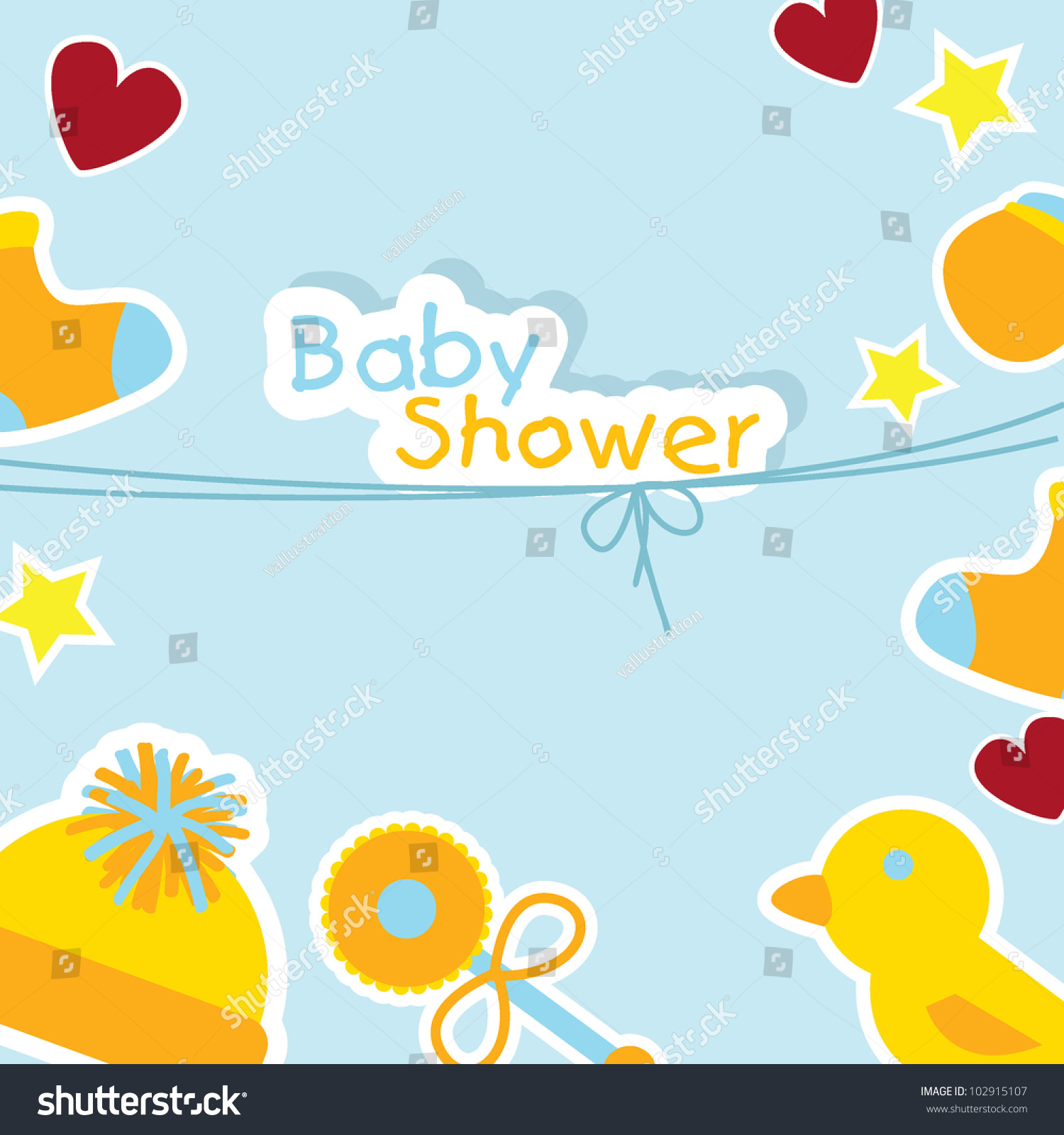 Baby Shower Background Baby Stuff Greeting Stock Vector