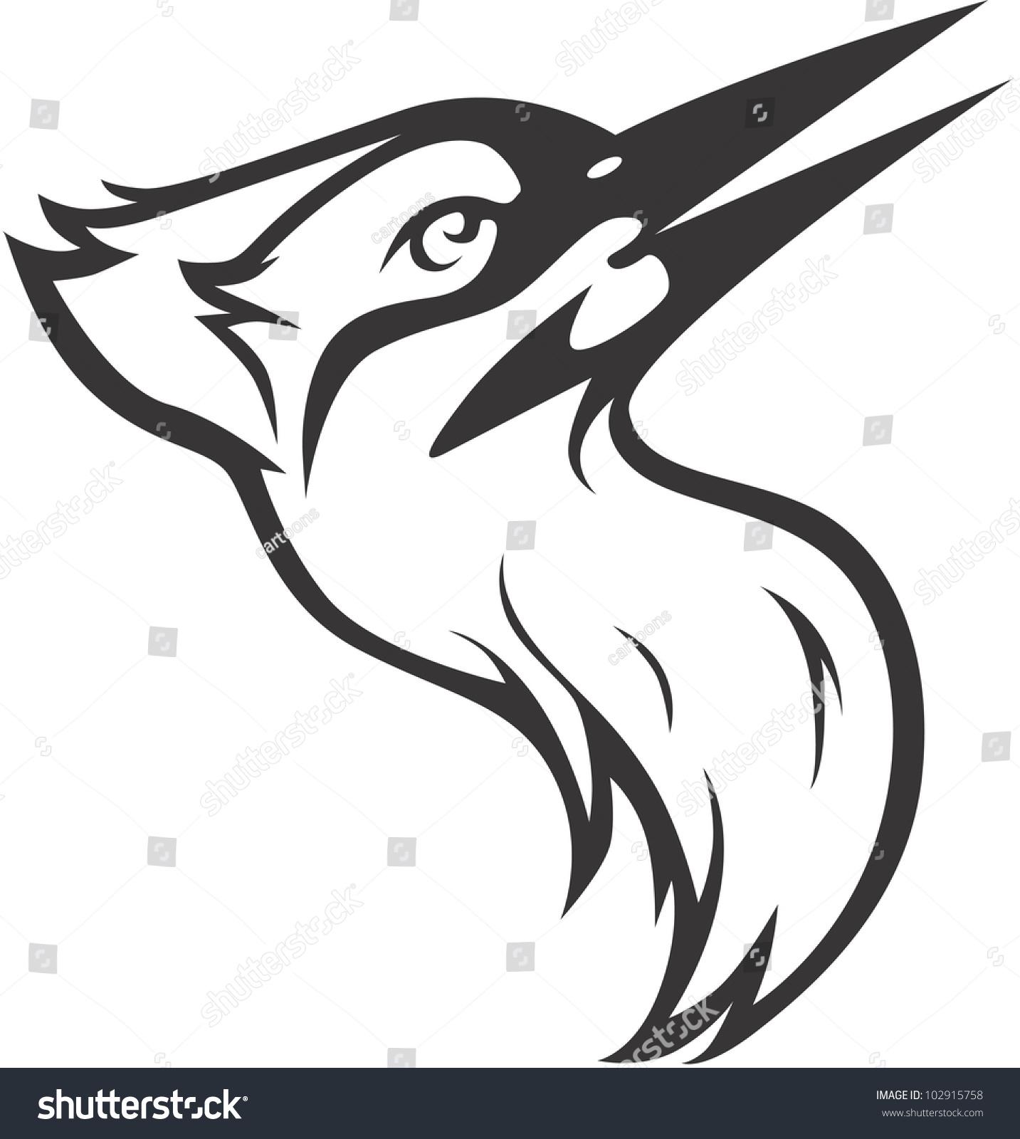 creative ivory billed woodpecker illustration