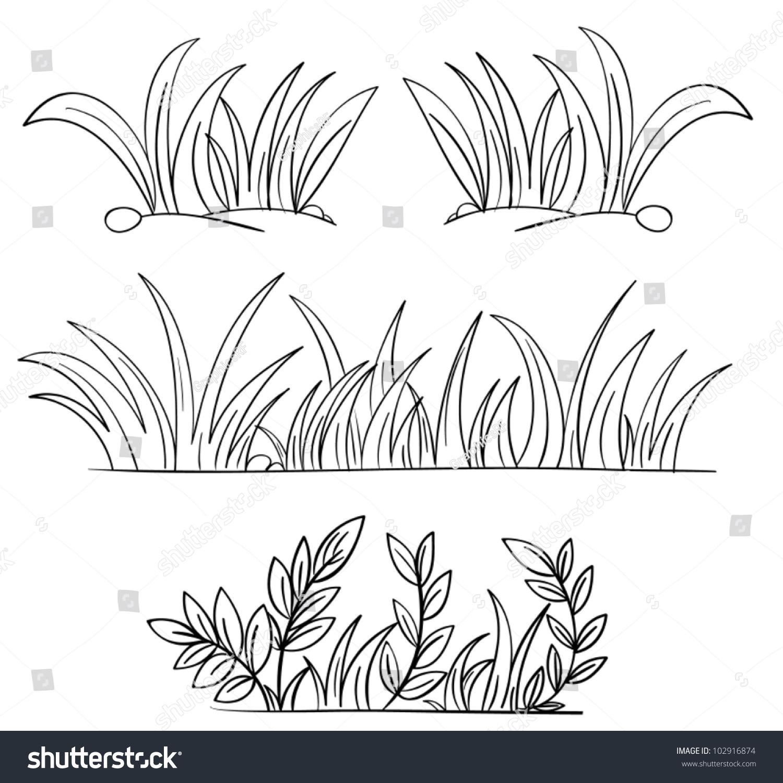 Grass Outline Vector Illustration Gr...
