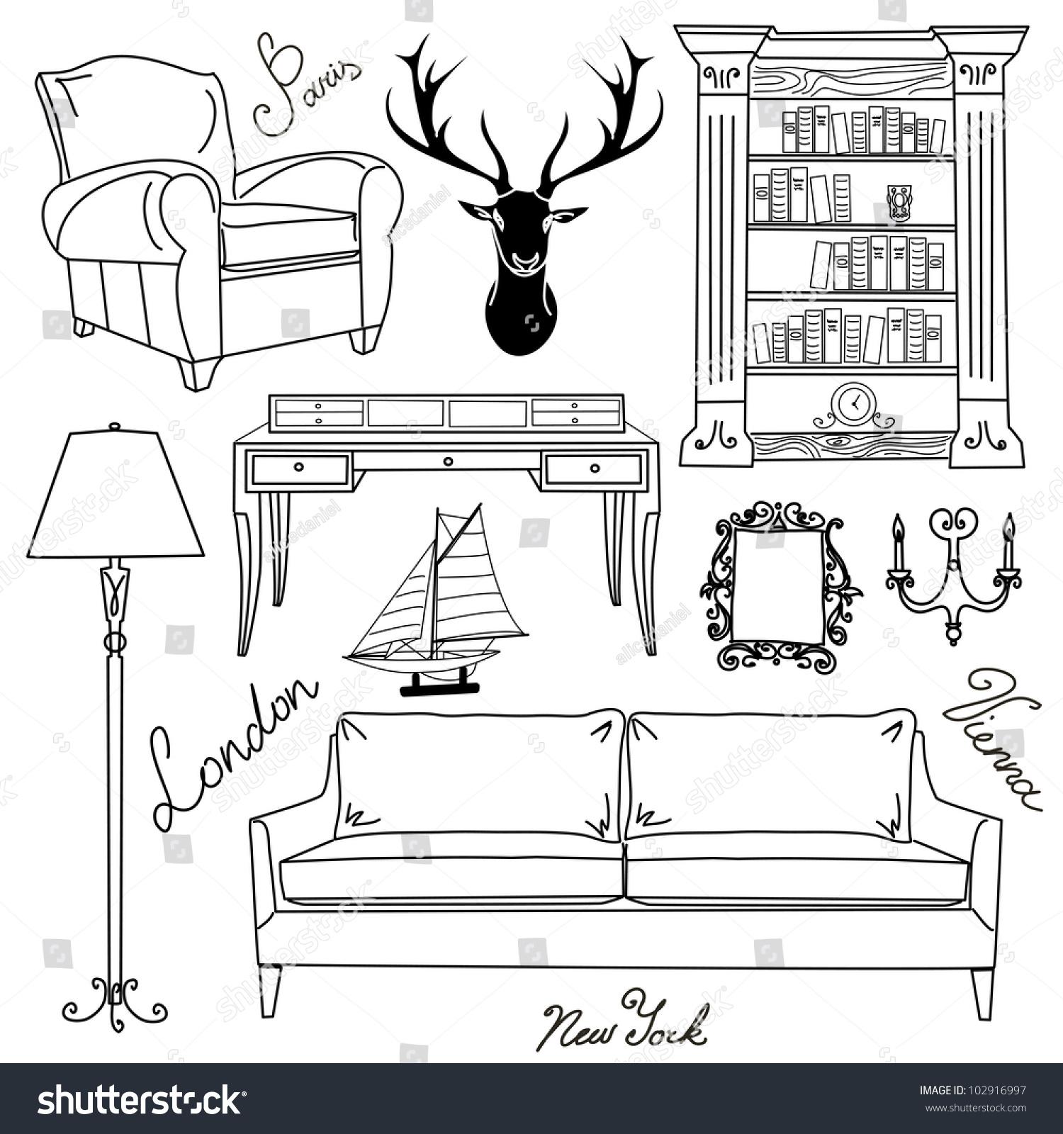 Set Of Furniture Icons Living Room Home Interior Design