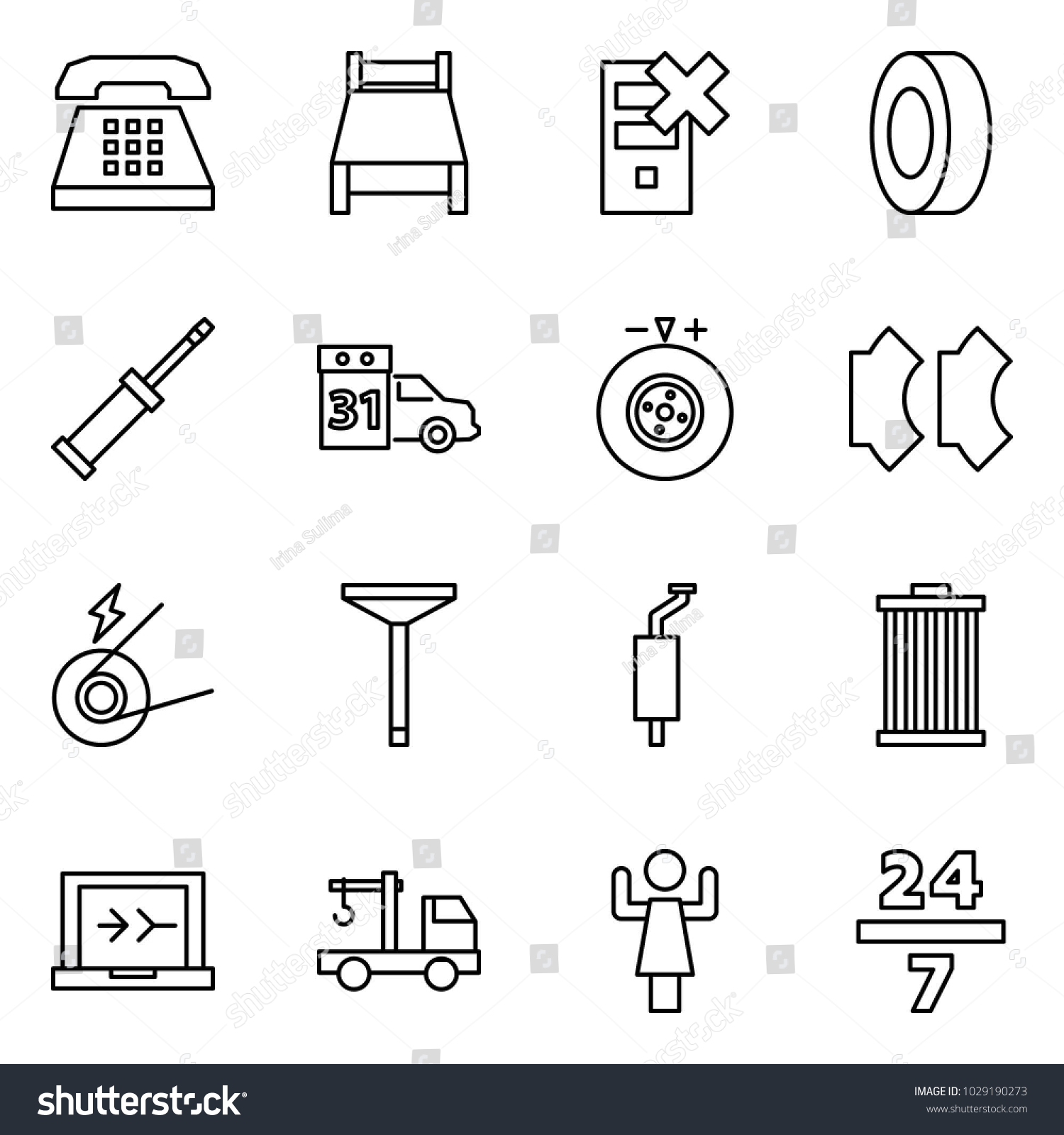 Flat Vector Icon Set Phone Stock Royalty Free Toastmaster Wiring Diagram Bed Disable Server Tyre Screwdriver