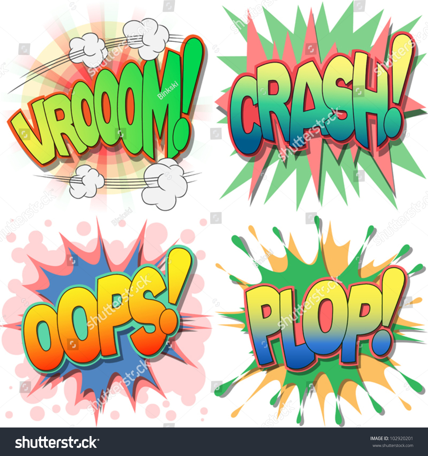 selection comic book exclamations action words stock vector a selection of comic book exclamations and action words vroom crash oops