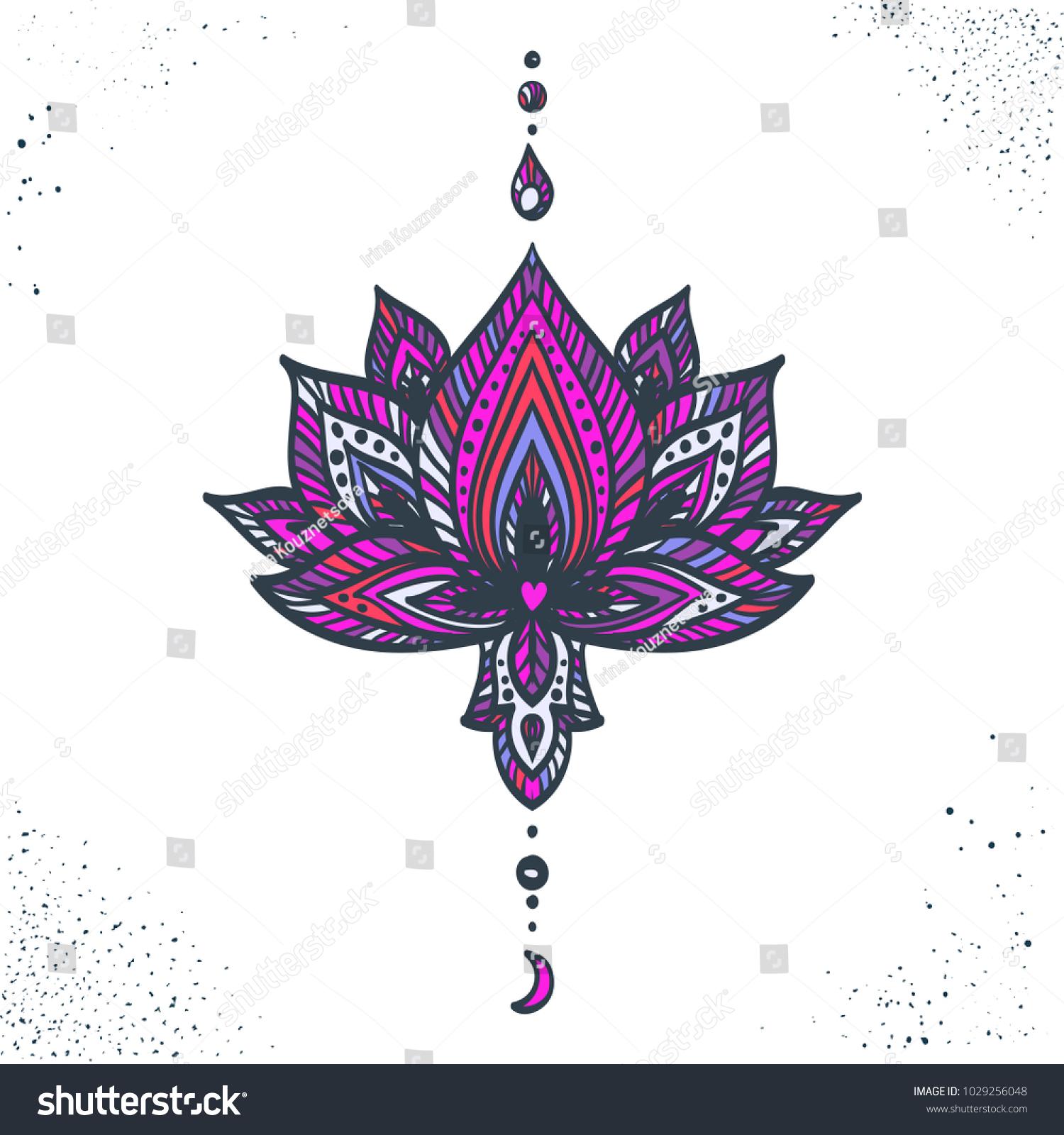 Vector ornamental lotus flower hand drawn stock vector royalty free vector ornamental lotus flower hand drawn ethnic illustration tattoo astrology alchemy izmirmasajfo