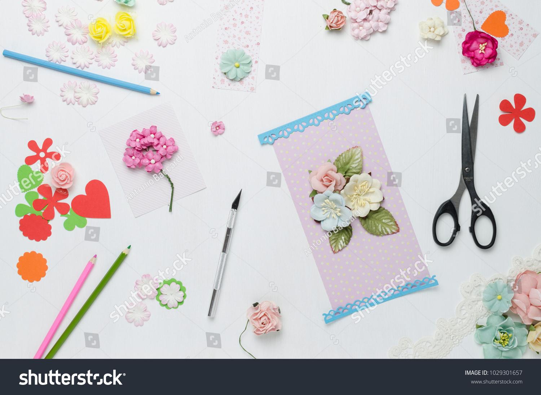 Paper Flowers Scissors Colored Pencils On Stock Photo Edit Now