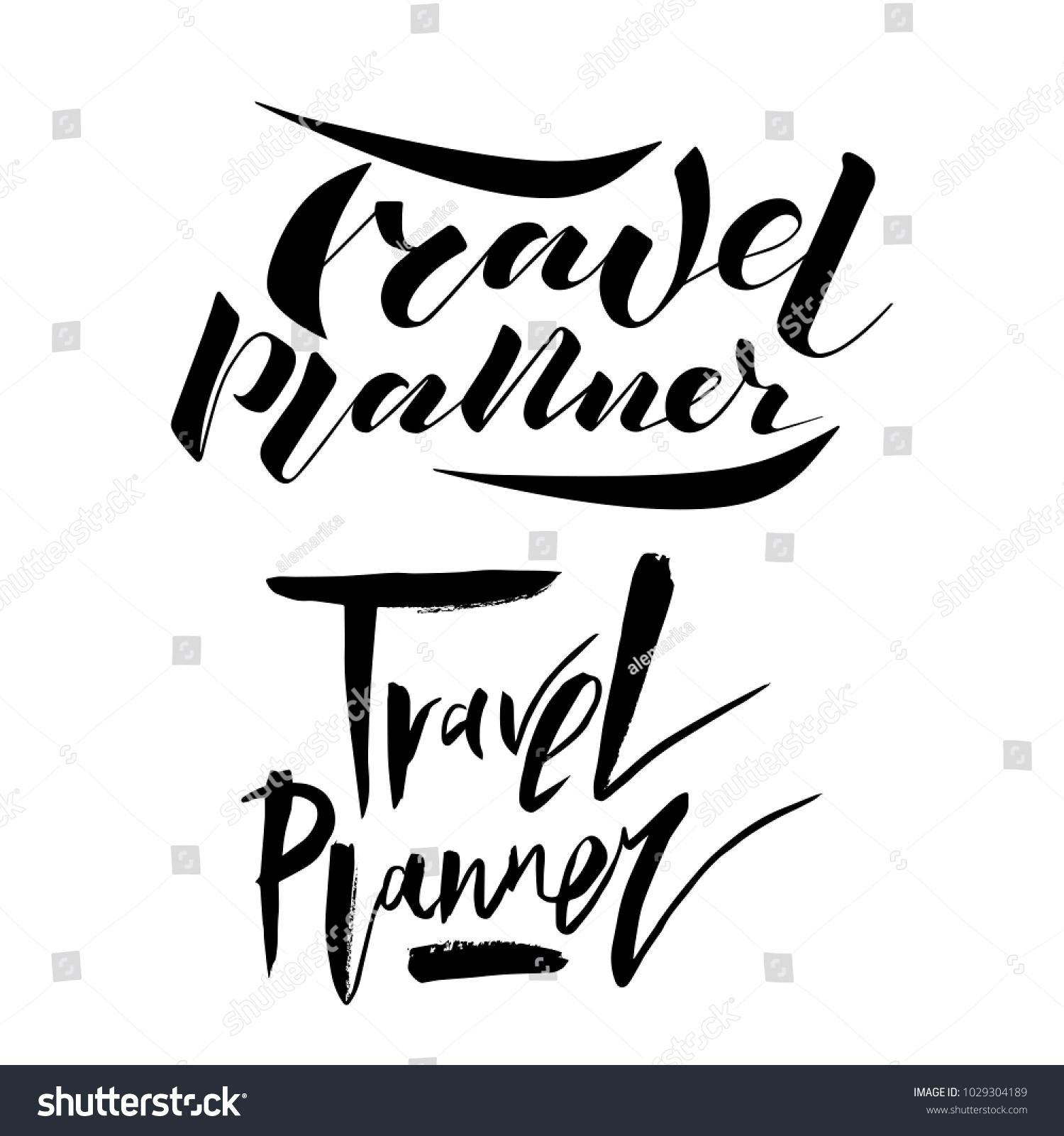 vector illustration lettering travel planner notebook stock vector