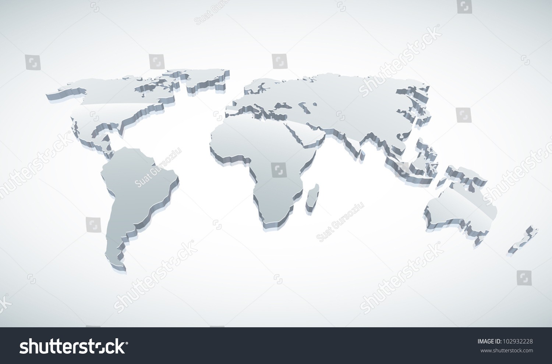3 d vector world map illustration stock vector royalty free 3d vector world map illustration gumiabroncs Choice Image