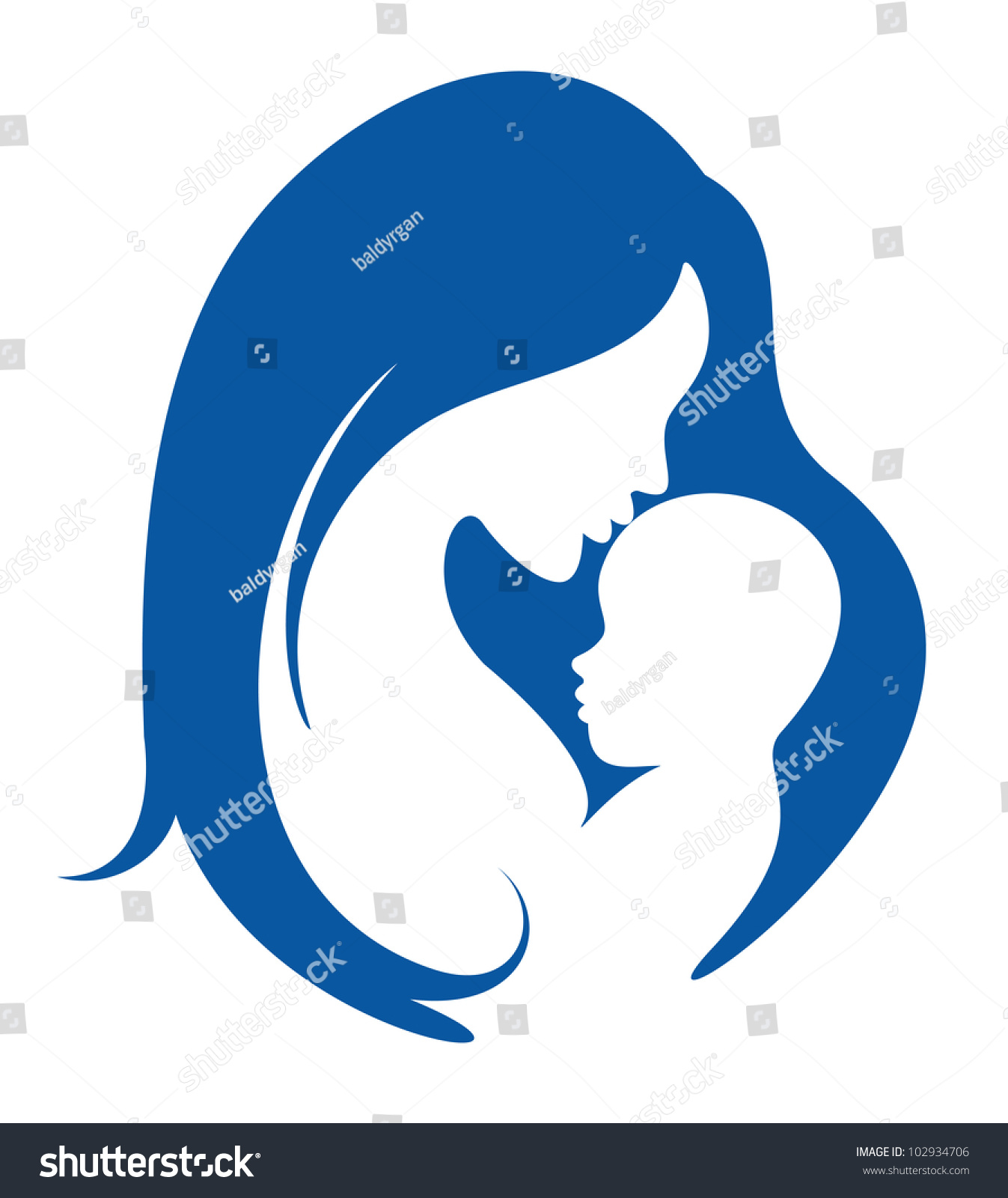 Love The Mother Child Silhouette: Mother Baby Vector Silhouette Stock Vector 102934706