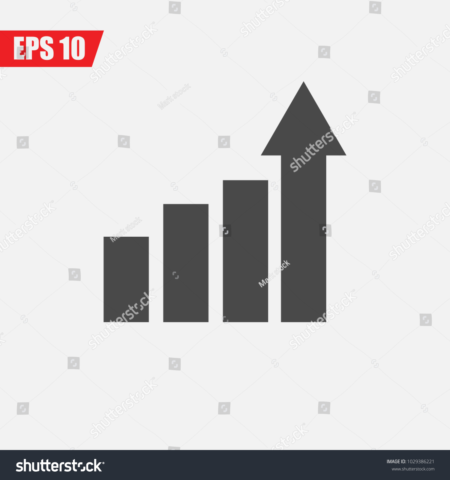 bar chart rising arrow vector icon stock vector (royalty free