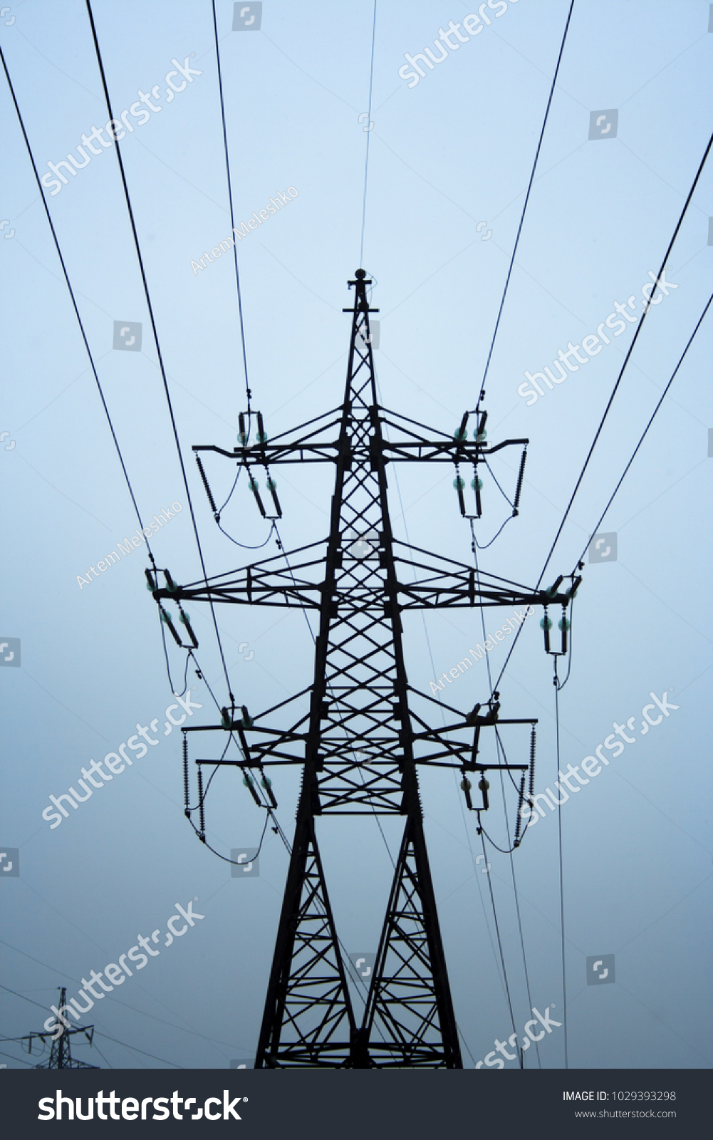 High Voltage Electricity Tower Wires Landscape Stock Photo (100 ...