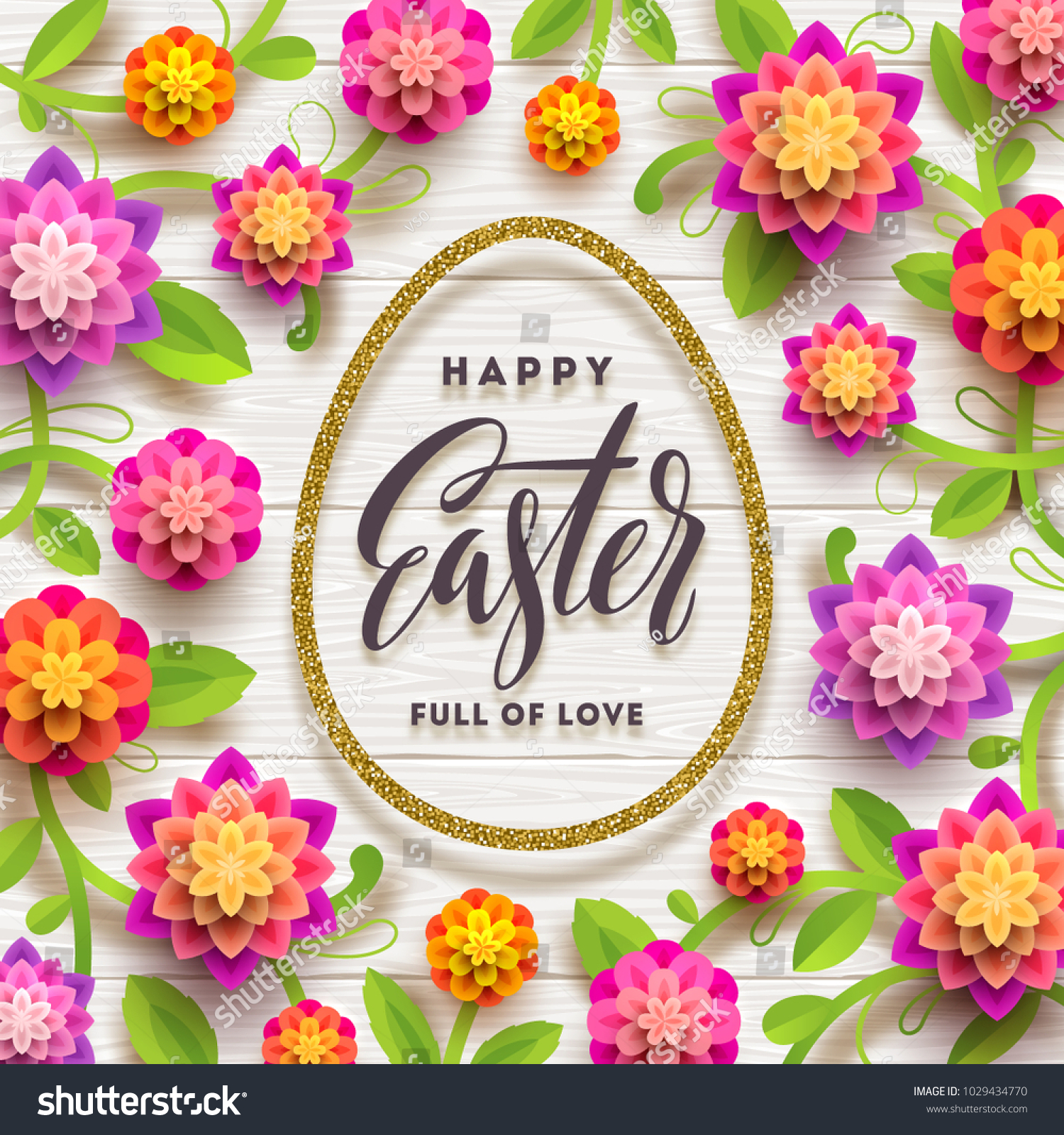 Easter Greeting Card Easter Calligraphic Greeting In Glitter Gold