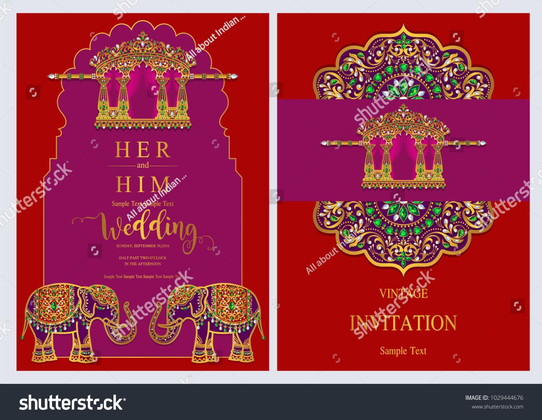 Indian Wedding Invitation Card Templates Gold Stock Vector (Royalty ...