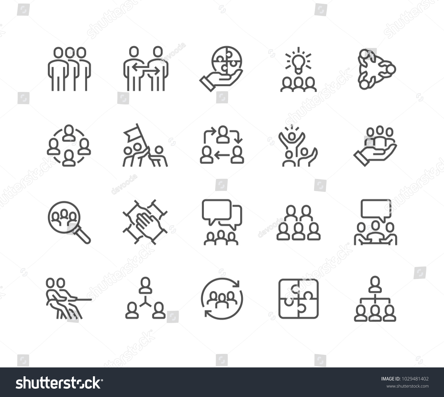 Simple Set of Team Work Related Vector Line Icons.  Contains such Icons as Collaboration, Research, Meeting and more. Editable Stroke. 48x48 Pixel Perfect. #1029481402