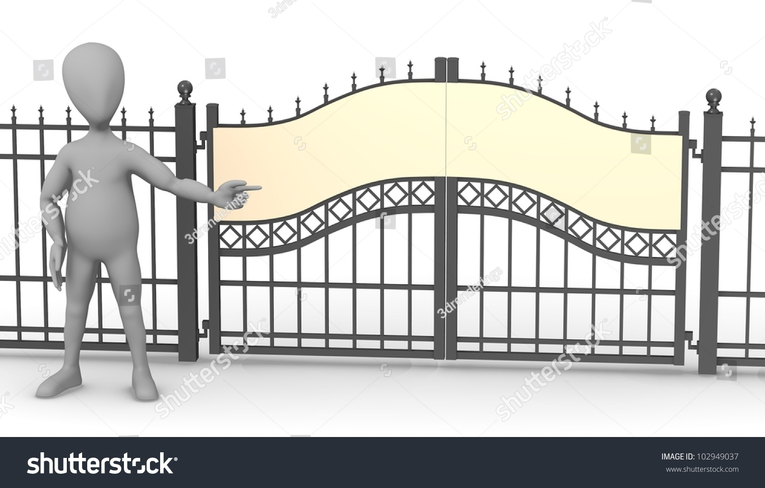 D render of cartoon character with fence gate stock photo