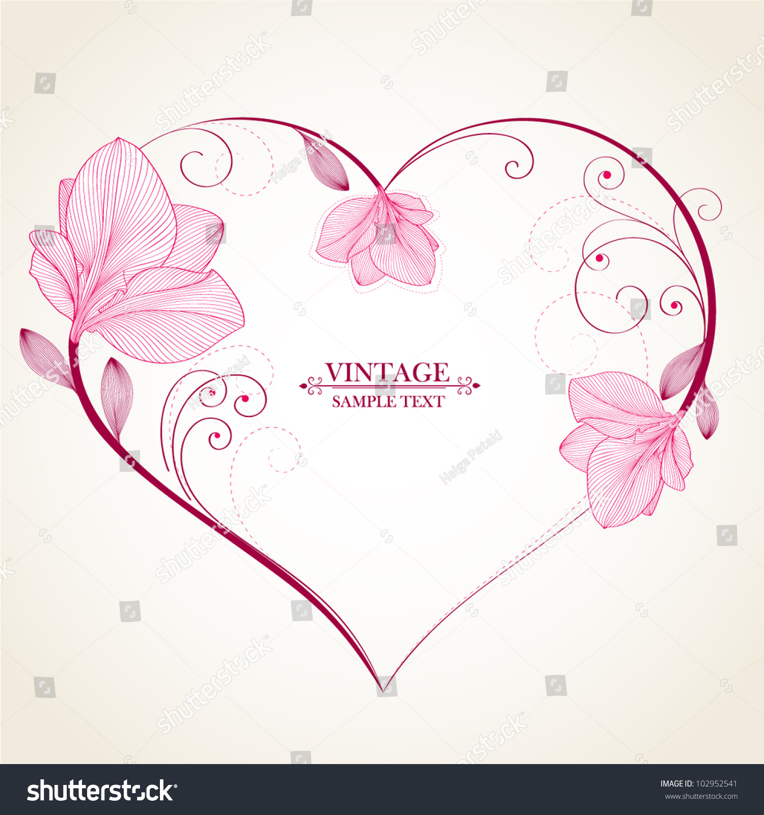 Abstract Flower Background With Decoration Elements For: Handdrawing Abstract Floral Background Vector Heart Stock