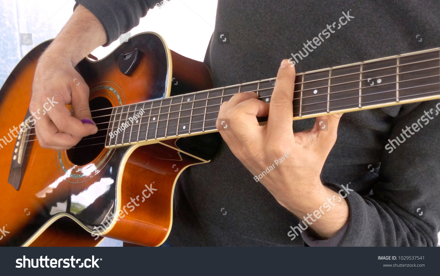 Guitarist Performance Barre On Acoustic Guitar Stock Photo Royalty
