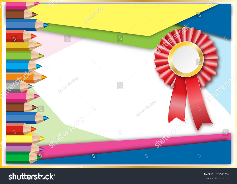Kids Certificate Diploma Template Children Ribbon Stock Vector