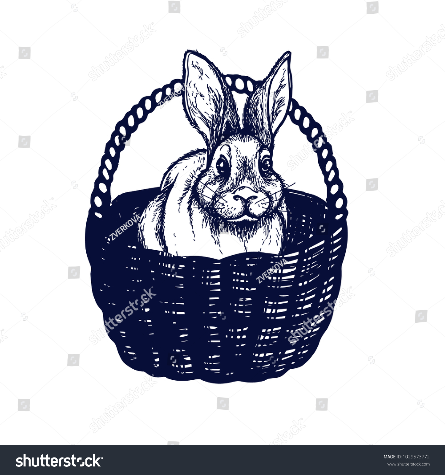 Easter Symbols Cart Hand Drawn Isolated Stock Vector Royalty Free