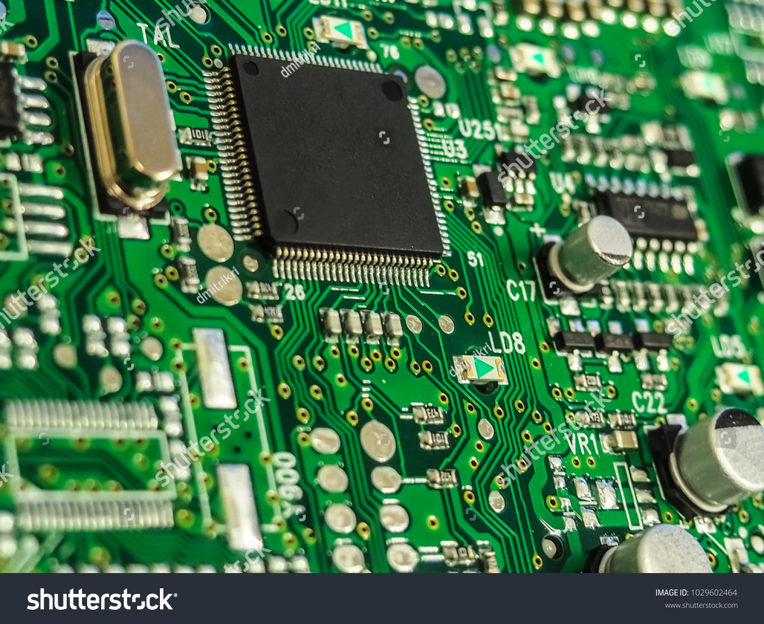Electronic Circuit Board Pcb Printed Stock Photo Edit Now With Processor Microchips And Glowing