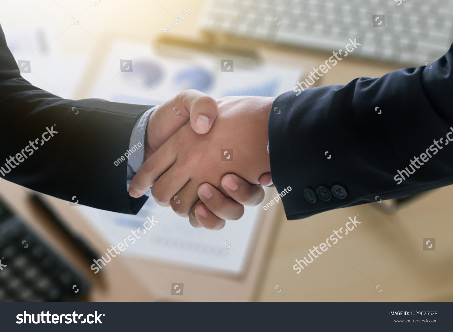 Business Successful Handshake And Business People Meeting And