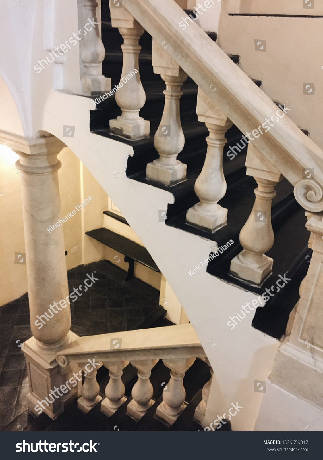 Antique Staircase Old Italian House Black Stock Photo Edit Now 1029659317