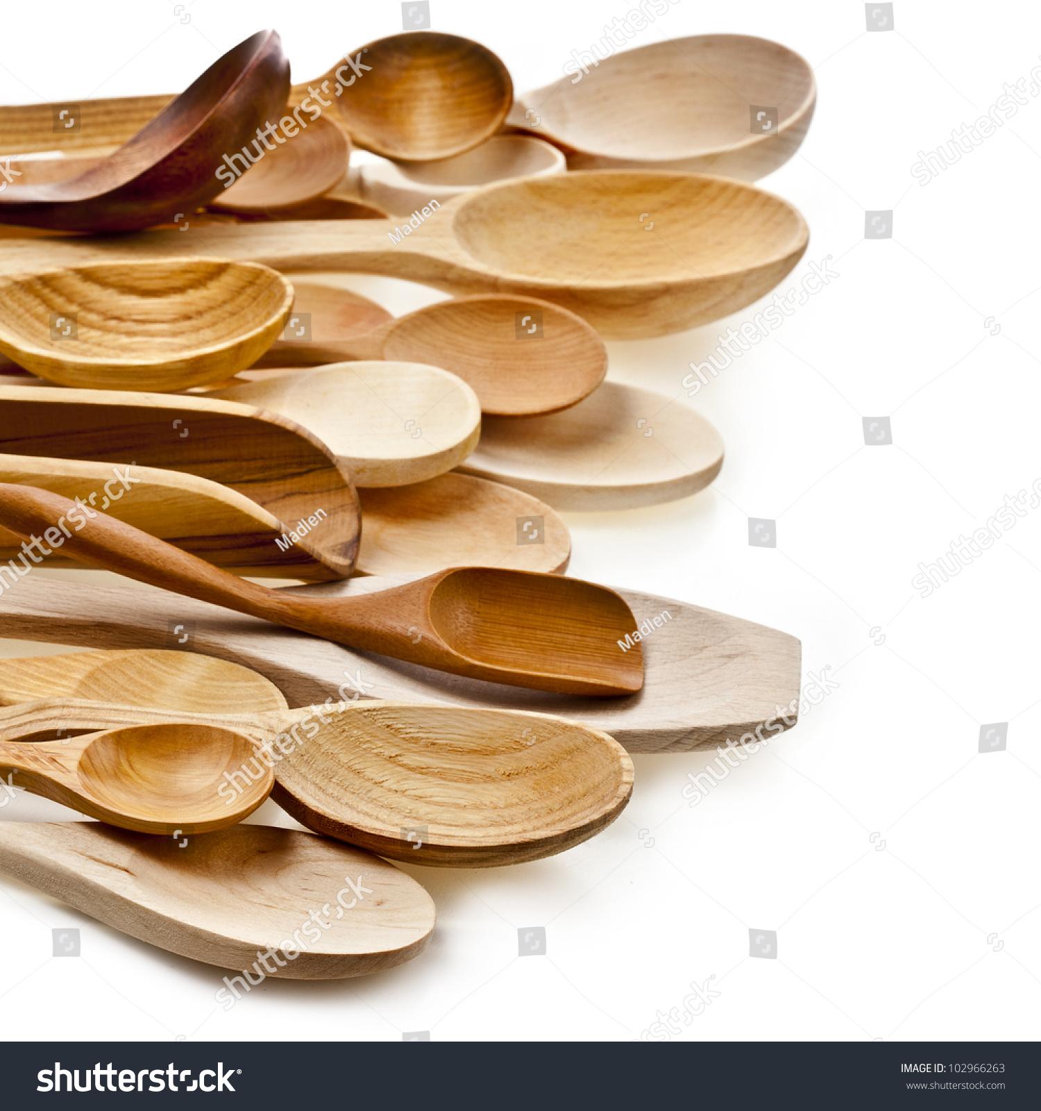 Kitchen Utensils Border border different kitchen wooden utensils cutlery stock photo
