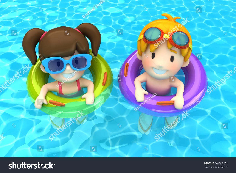 3d Render Kids Floating Inflatable Ring Stock Illustration