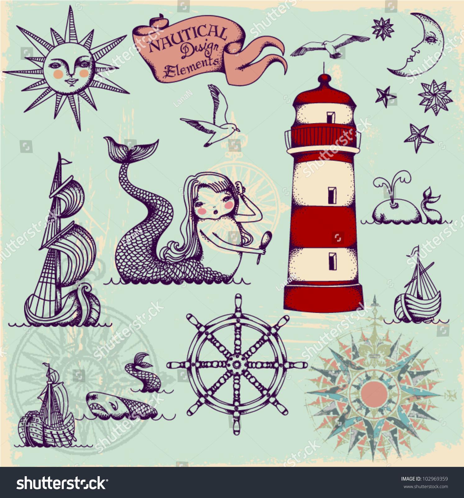 Key Elements Of Nautical Style: Whimsical Set Of Hand Drawn