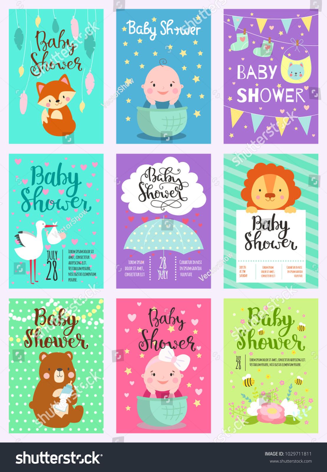 Baby shower design vector card cute woodland animals born arrival id 1029711811 filmwisefo