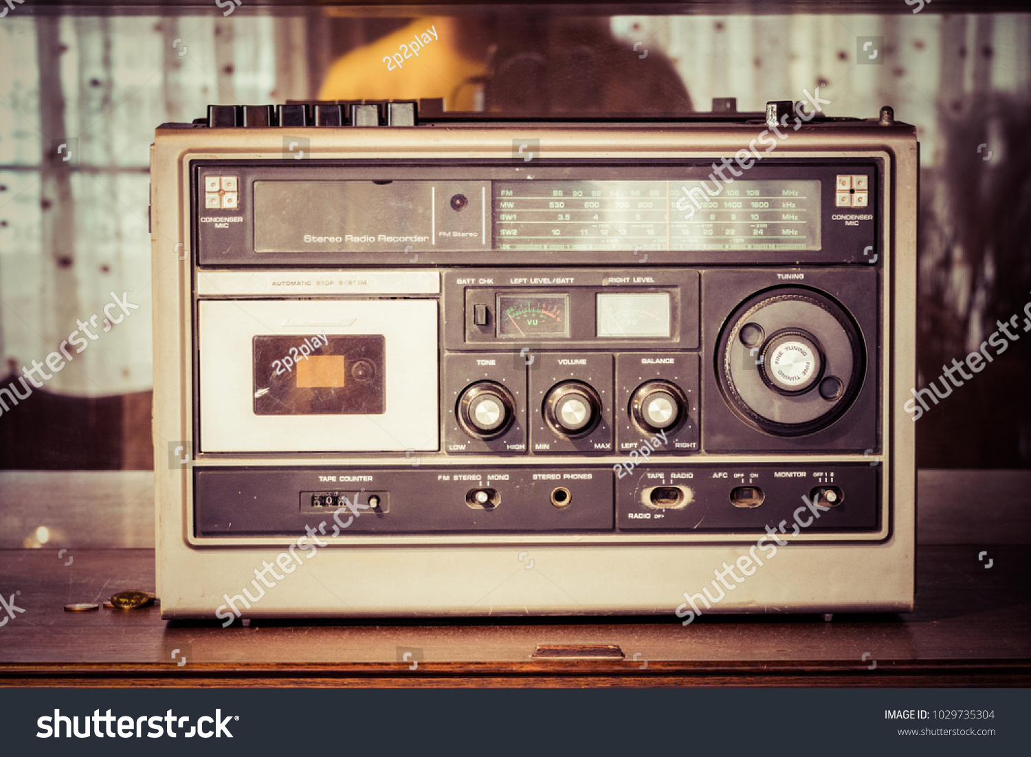 Retro Radio Cassette Stereo Recorder Decoration Stock Photo Edit Room And With In Process Color