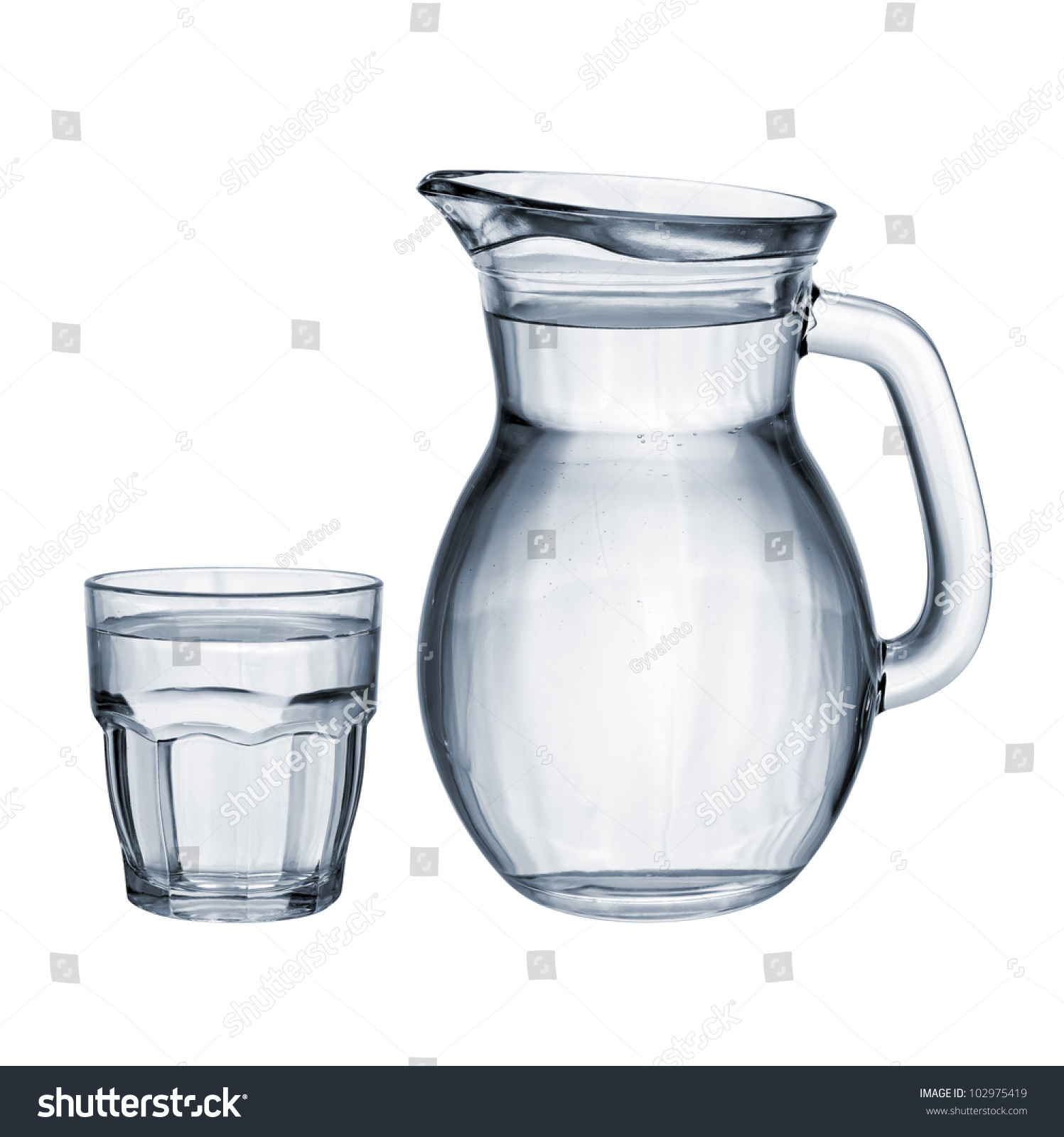 full water glass jug isolated on stock photo 102975419. Black Bedroom Furniture Sets. Home Design Ideas