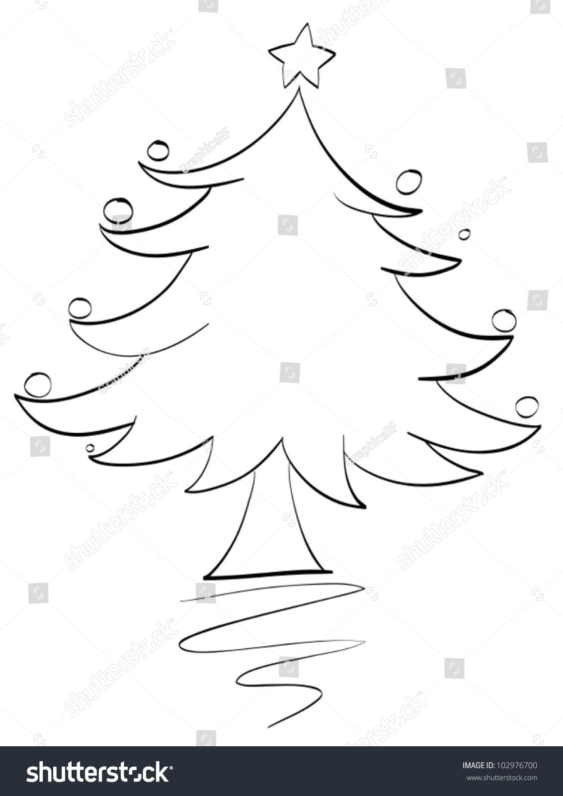 illustration xmas tree outline stock vector 102976700 shutterstock