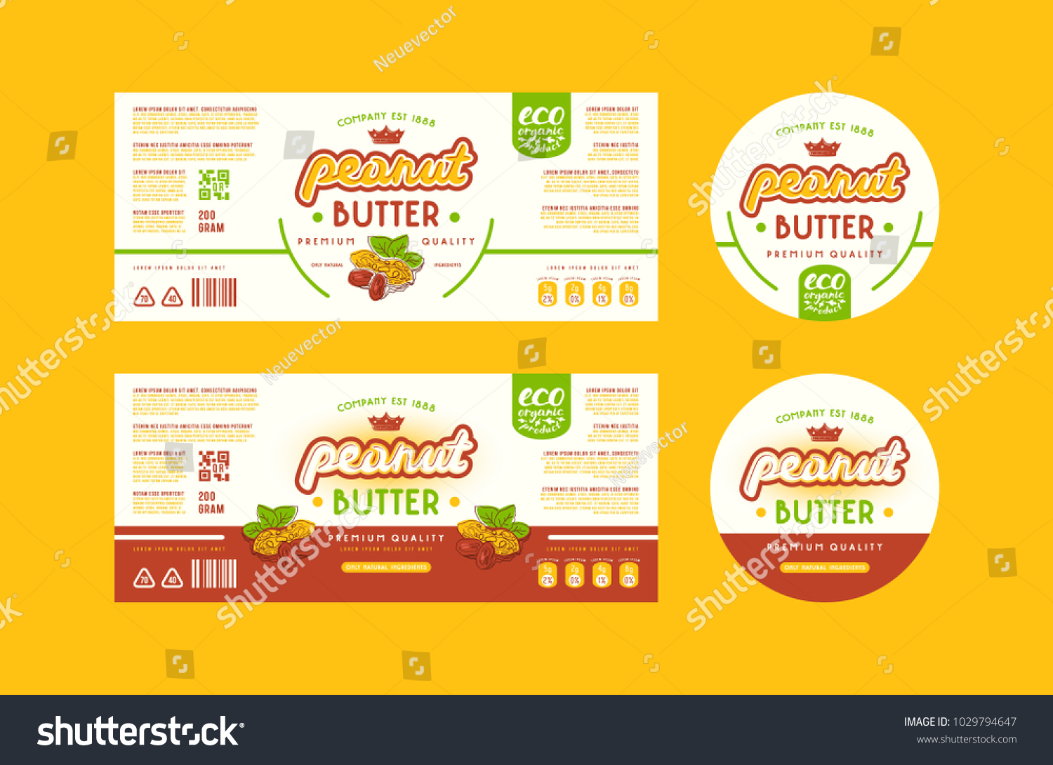 Set Templates Label Peanut Butter Illustration Stock Vector ...