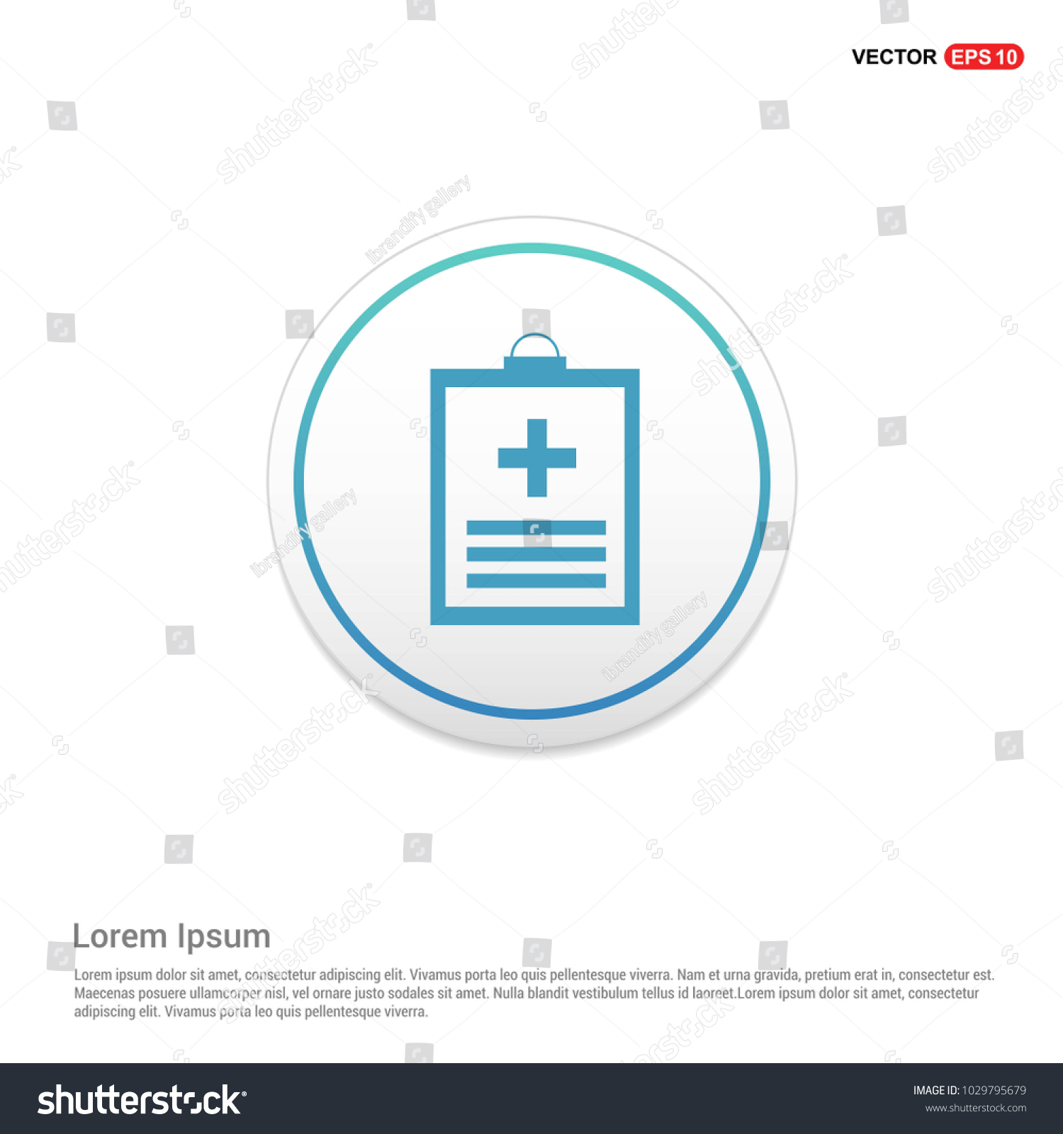 Medical File Icon Hexa White Background Stock Vector Royalty Free