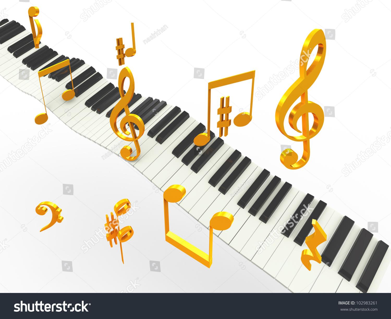 3 D Music Piano Keys Golder Musical Stock Illustration 102983261