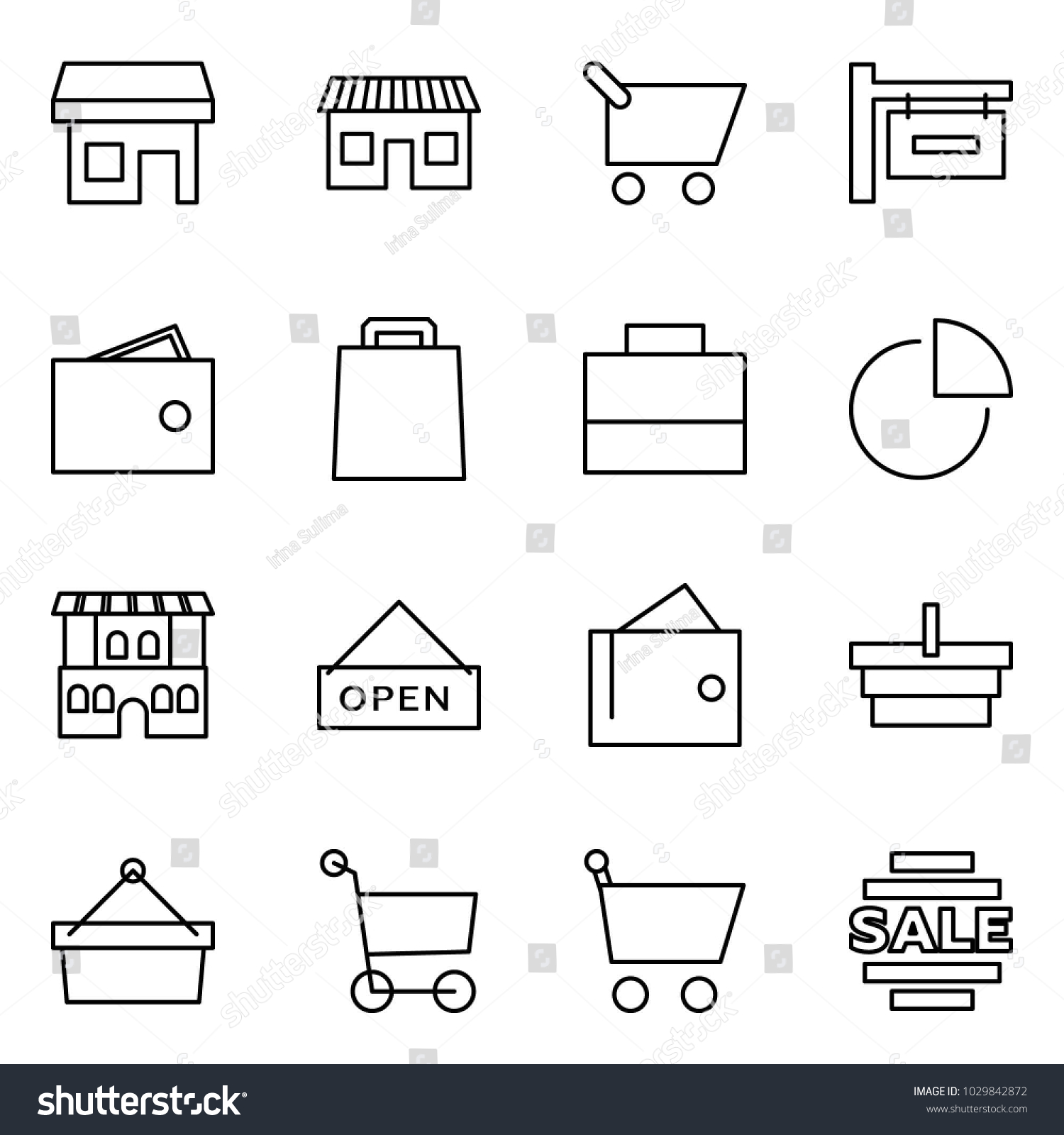 Flat Vector Icon Set Store Stock Royalty Free Shopping Cart Diagram Shop Sign Wallet