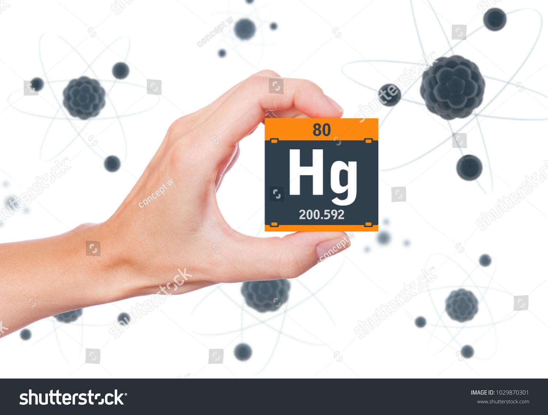 Mercury Element Symbol Handheld Atoms Floating Stock Photo Royalty