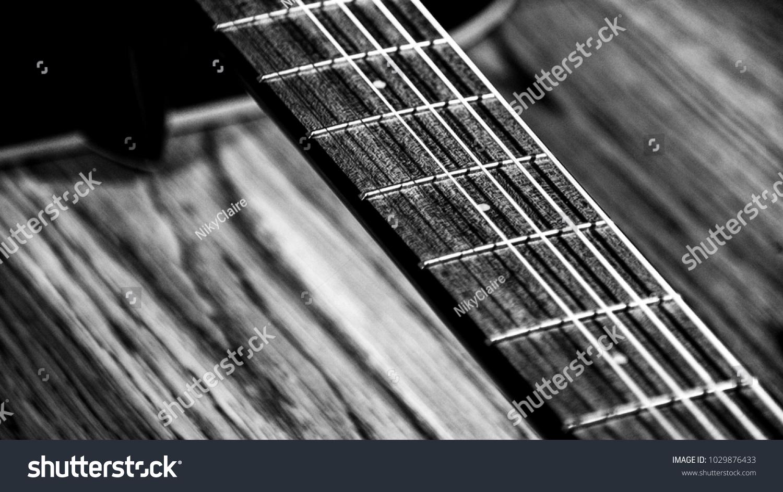 Black White Bw Guitar Strings Detail Stock Photo Edit Now