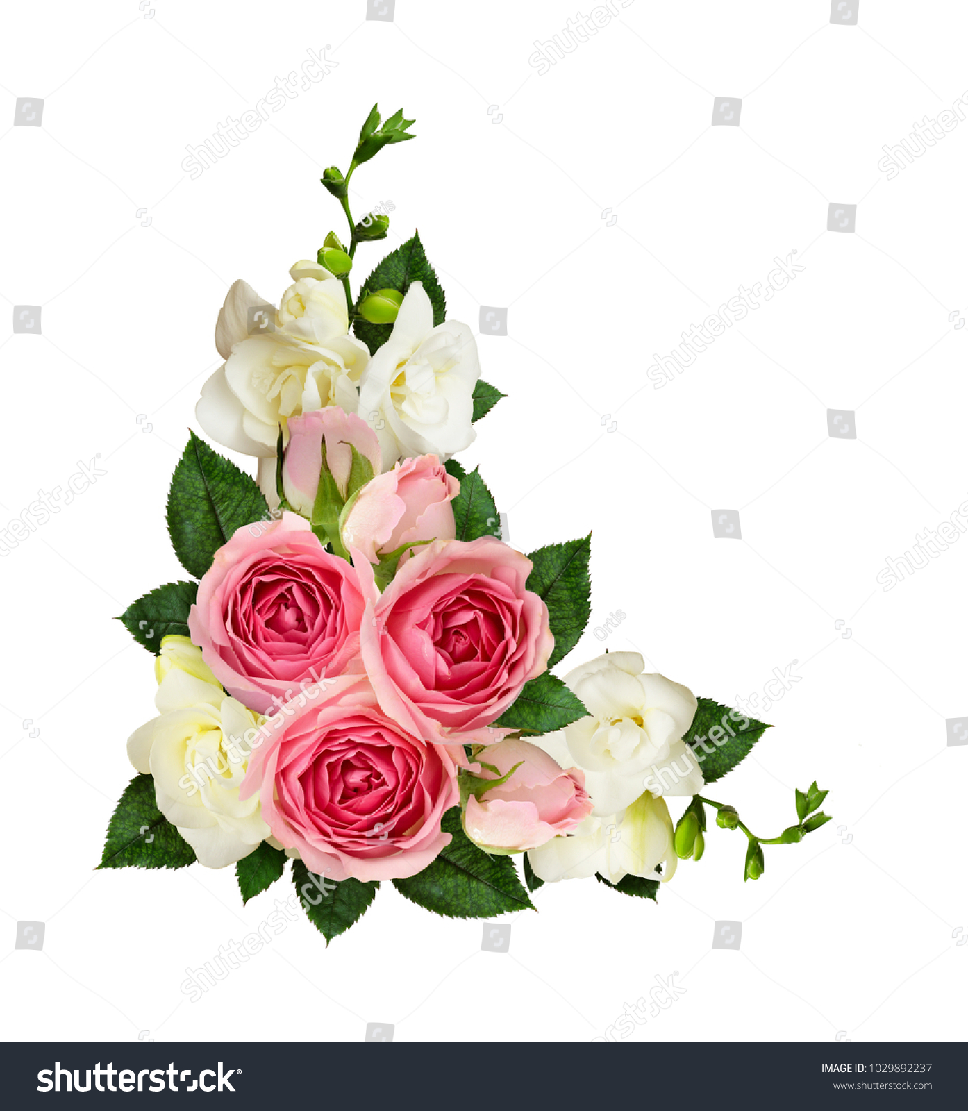 Beautiful Bouquet With Freesia Flowers On White Background Ez Canvas
