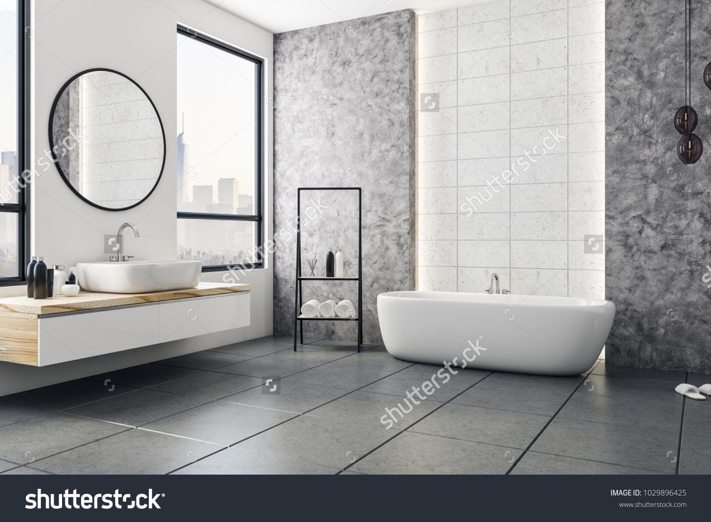 Picture of: Moderne Badevaerelse Interior Med Udsigt Over Lagerillustration 1029896425