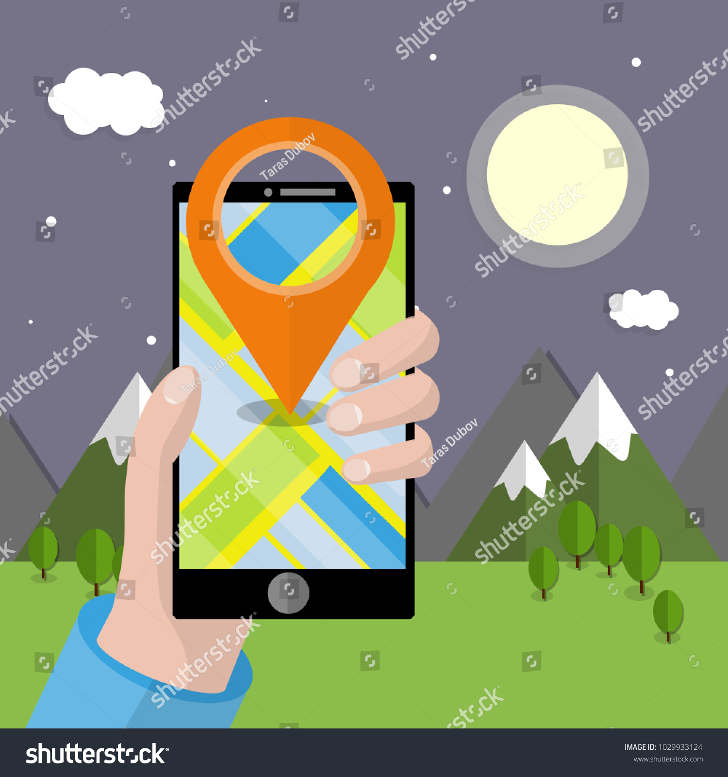 Cartoon flat illustration phone hand app stock vector 1029933124 cartoon flat illustration phone in hand with the app to navigate the search path in buycottarizona Images