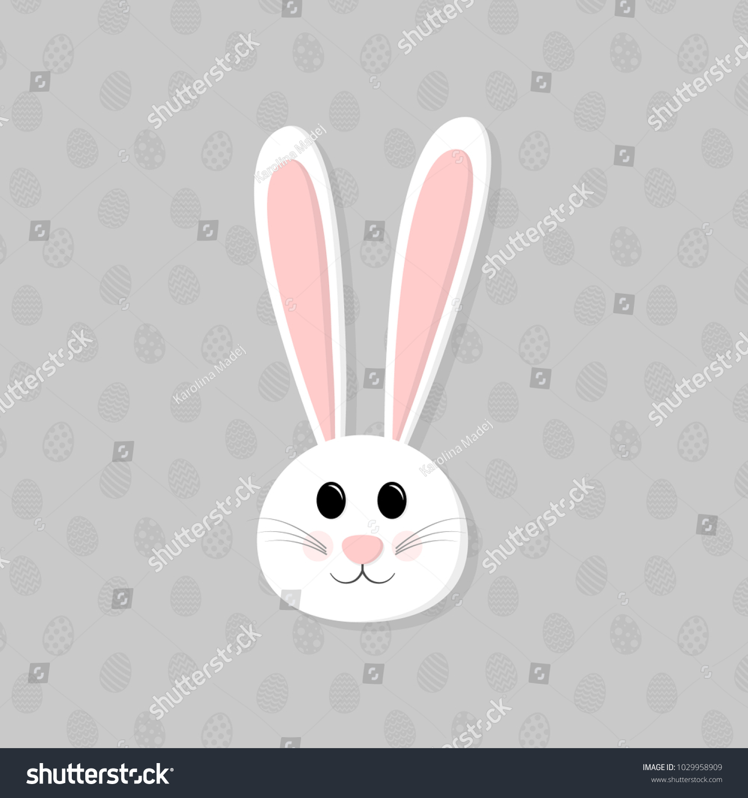 Cute Easter Bunny ears on background with eggs. Easter background ...