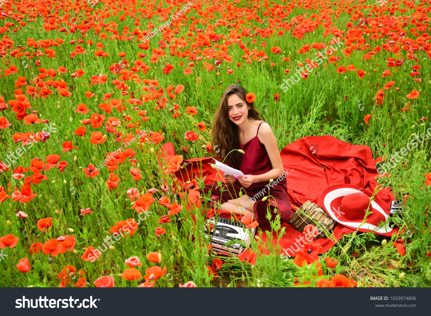 Journalism And Writing Summer Woman Writer In Poppy Flower Field
