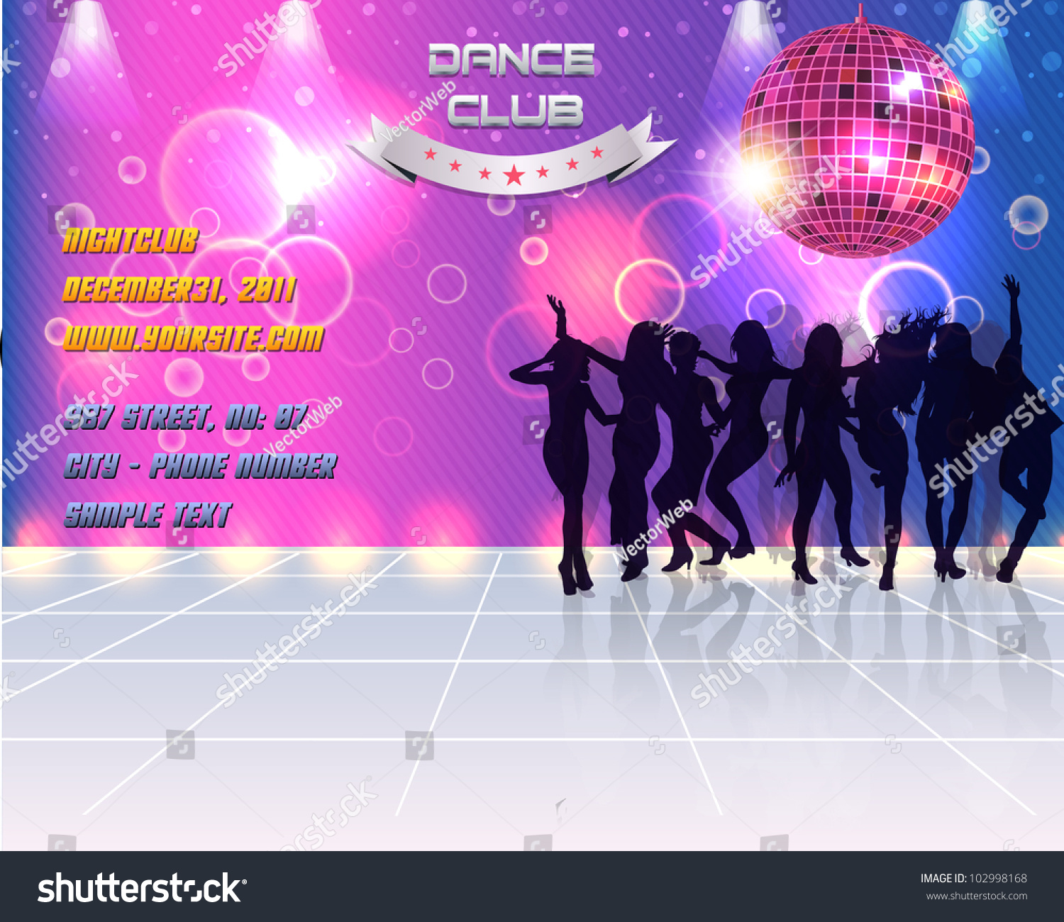 Dance Party Banner Background Flyer Templates Stock Vector Royalty Free 102998168