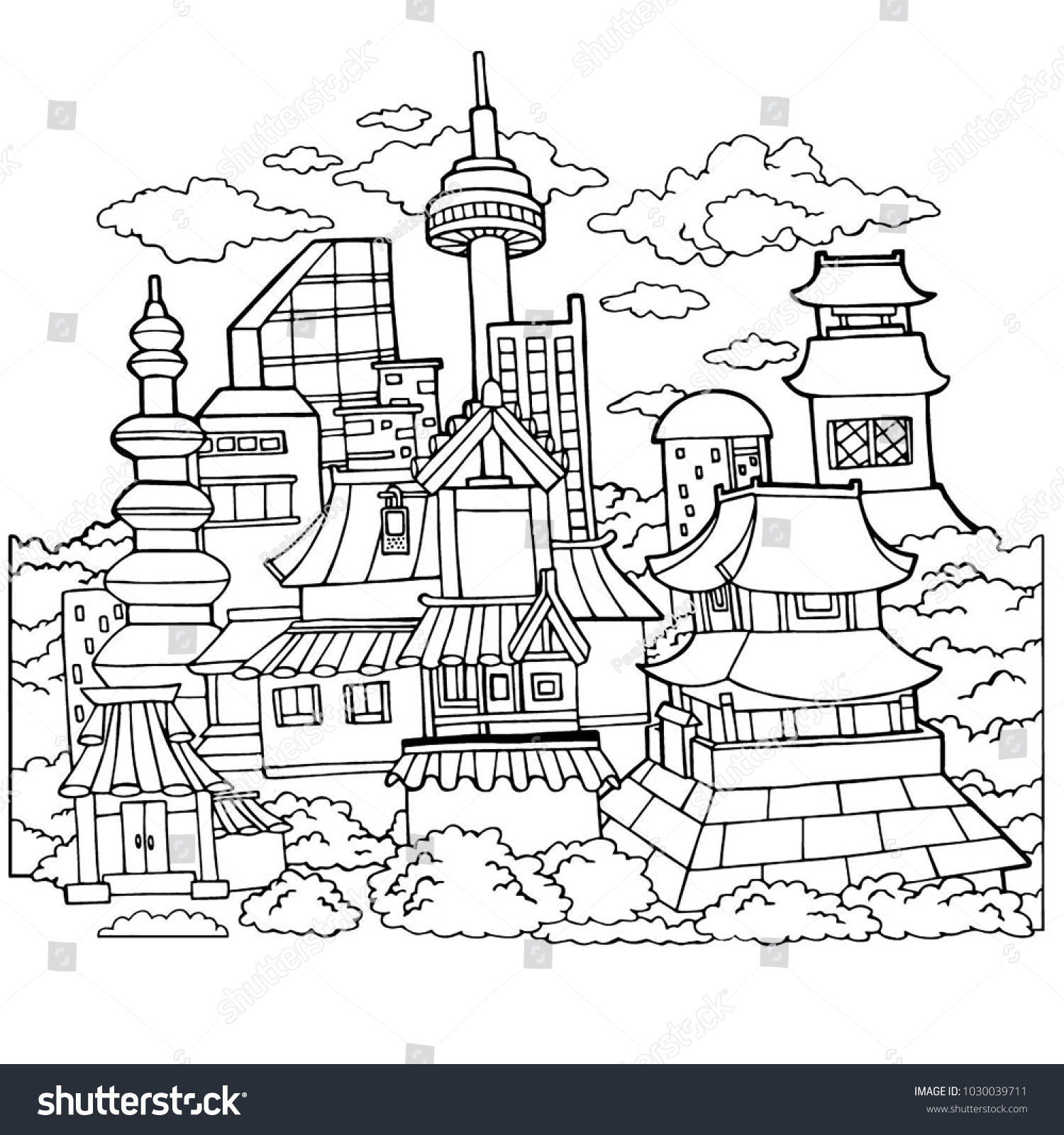 korean town detailed coloring page - Detailed Coloring Page