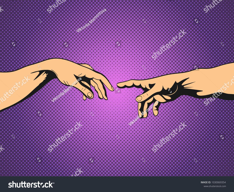 Adam God Hands Pop Art Vintage Vector de stock1030069354: Shutterstock