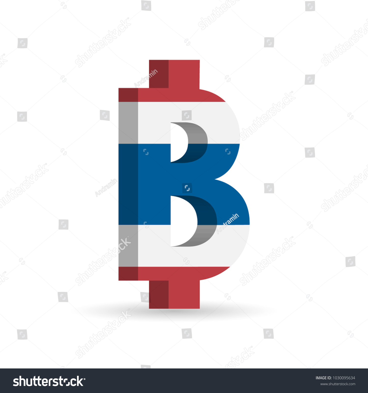 Thai Baht Thb Currency Symbol Flag Stock Vector Royalty Free