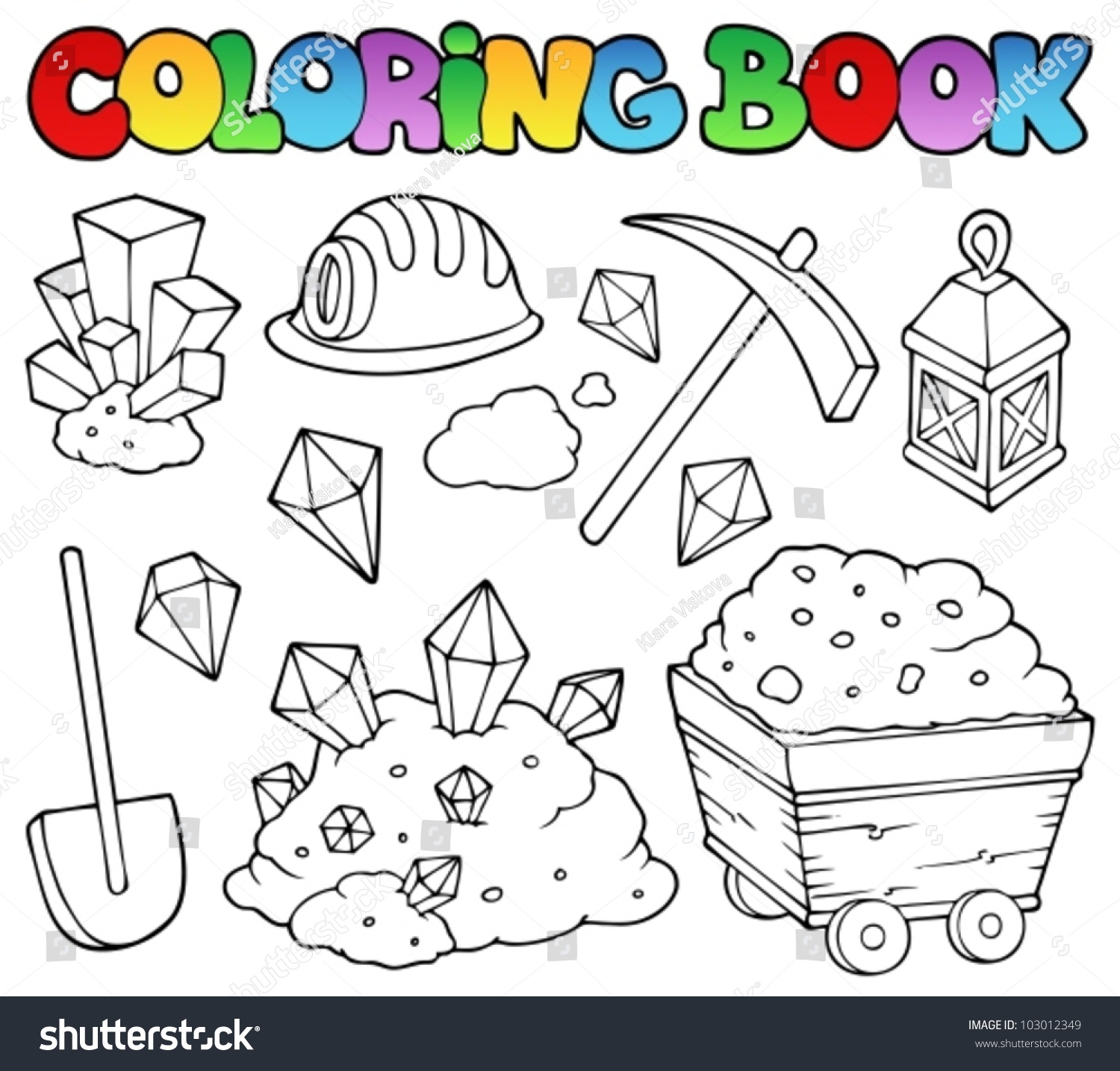 Coloring Pages Rocks And Minerals Coloring Pages coloring book mining collection 1 vector stock 103012349 illustration